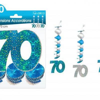 Guirlande accordéon anniversaire 70ans: Bleu (x3) REF/SAH07B