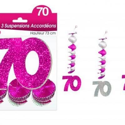 Guirlande accordéon anniversaire 70ans: Fuchsia (x3) REF/SAH07R