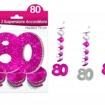 Guirlande accordéon anniversaire 80ans: Fuchsia (x3) REF/SAH10R