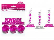 Guirlande accordéon joyeux anniversaire: Fuchsia (x3) REF/SAH00R