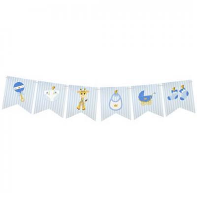 Guirlande fanion baby shower bleu ciel 5m (x1) REF/BB105