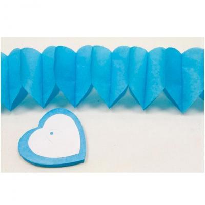 Guirlande coeur bleu turquoise, 4m (x2) REF/GUI054
