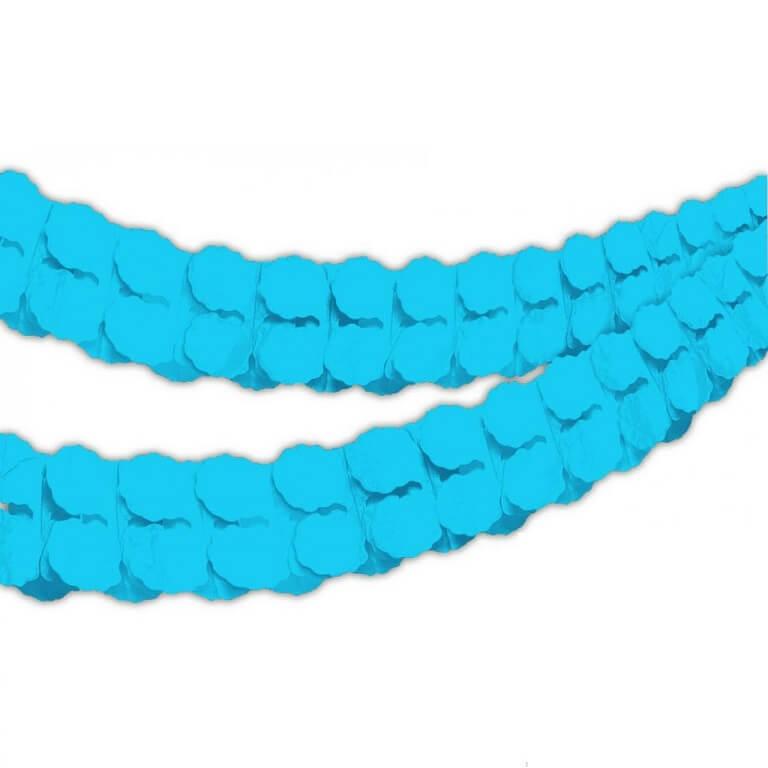 Guirlande boa en papier bleu