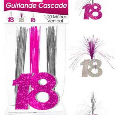 Guirlande cascade anniversaire 18ans: Fuchsia (x1) REF/CASCH01R