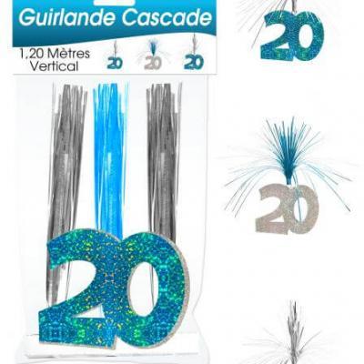 Guirlande cascade anniversaire 20ans: Bleu (x1) REF/CASCH02B