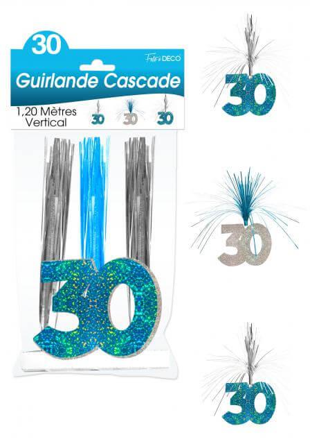 Guirlande cascade anniversaire 30ans bleu