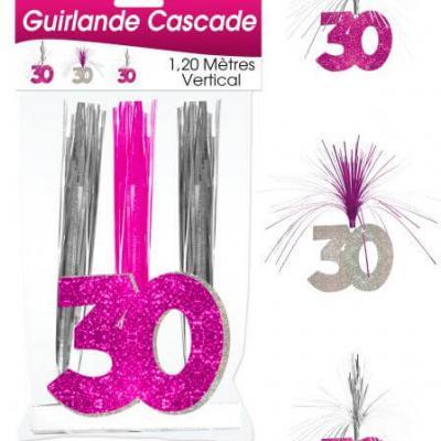 Guirlande cascade anniversaire 30ans: Fuchsia (x1) REF/CASCH03R
