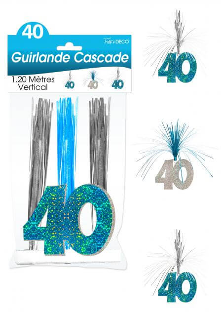Guirlande cascade anniversaire 40ans bleu