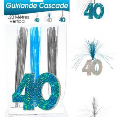 Guirlande cascade anniversaire 40ans: Bleu (x1) REF/CASCH04B