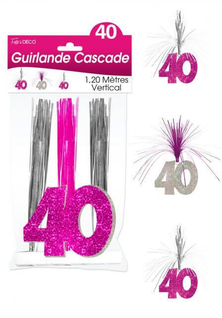 Guirlande cascade anniversaire 40ans fuchsia