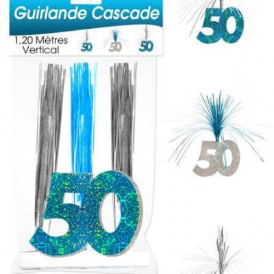 Guirlande cascade anniversaire 50ans: Bleu (x1) REF/CASCH05B