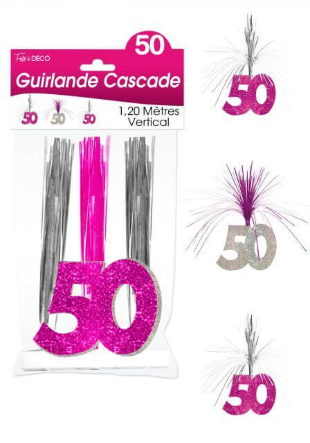 Guirlande cascade anniversaire 50ans fuchsia