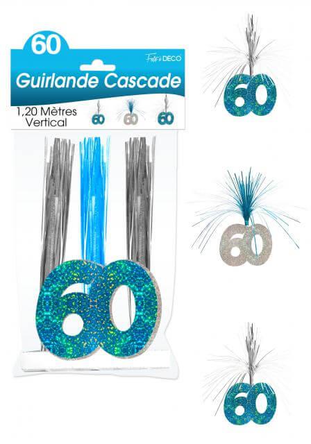 Guirlande cascade anniversaire 60ans bleu