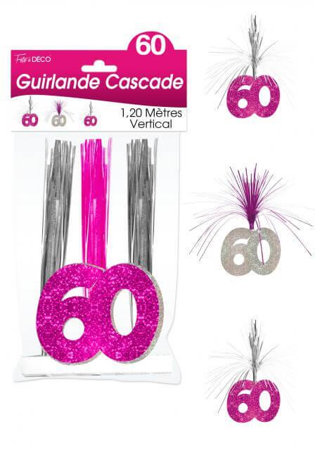 Guirlande cascade anniversaire 60ans fuchsia