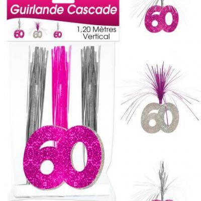 Guirlande cascade anniversaire 60ans: Fuchsia (x1) REF/CASCH06R