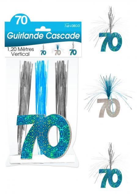 Guirlande cascade anniversaire 70ans bleu