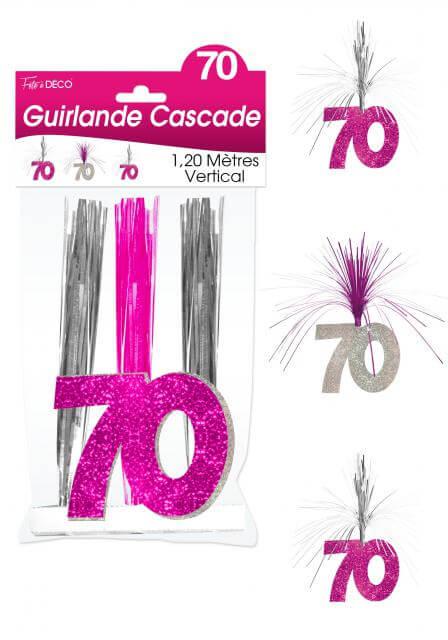 Guirlande cascade anniversaire 70ans fuchsia