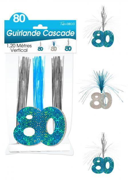 Guirlande cascade anniversaire 80ans bleu