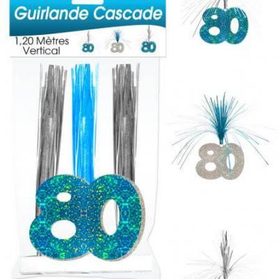 Guirlande cascade anniversaire 80ans: Bleu (x1) REF/CASCH10B