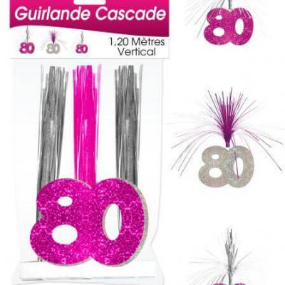 Guirlande cascade anniversaire 80ans: Fuchsia (x1) REF/CASCH10R