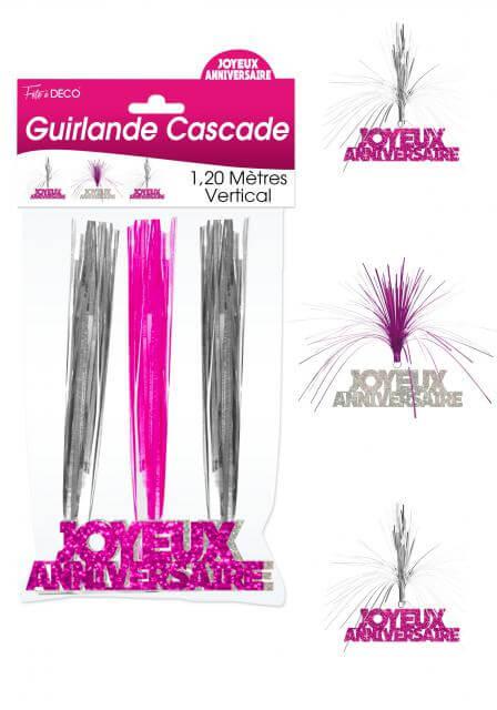 Guirlande cascade joyeux anniversaire fuchsia
