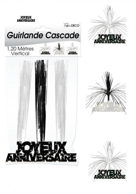 Guirlande cascade joyeux anniversaire noir