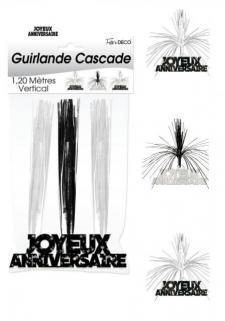 Guirlande cascade joyeux anniversaire: Noir (x1) REF/CASCH00N