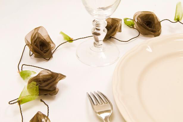 Guirlande de roses organza marron