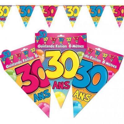 Guirlande fanion anniversaire 30ans (x1) REF/GF04