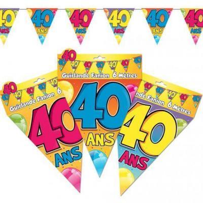 Guirlande fanion anniversaire 40ans (x1) REF/GF05