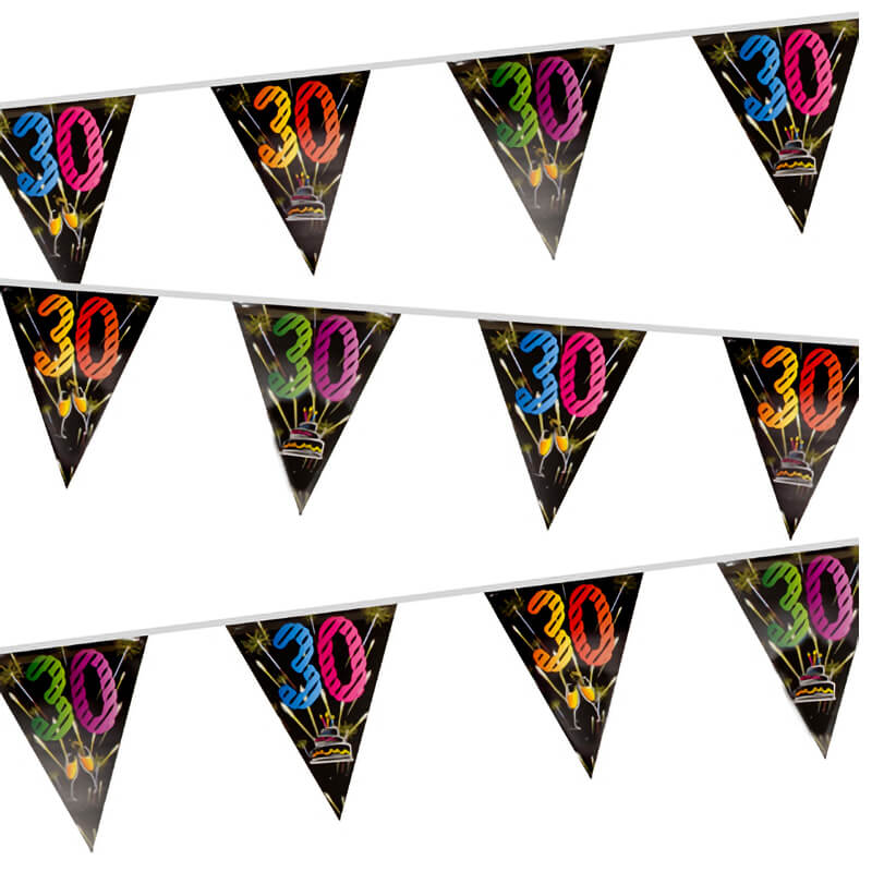 Guirlande fanion anniversaire 30 ans noir