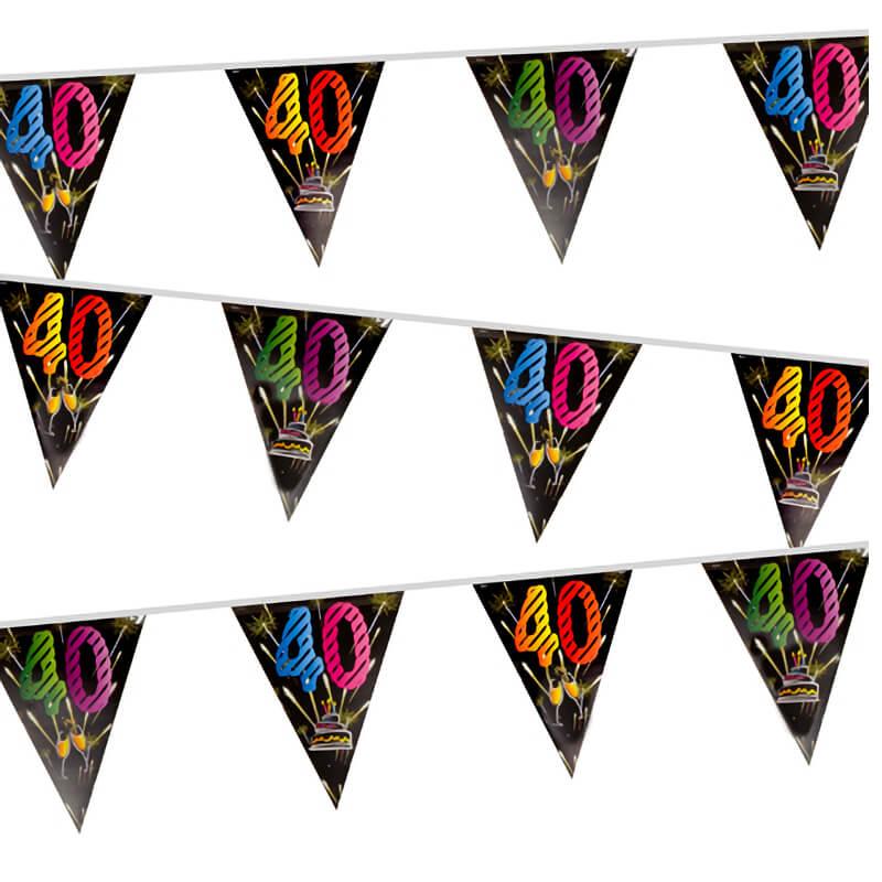 Guirlande fanion anniversaire 40 ans noir