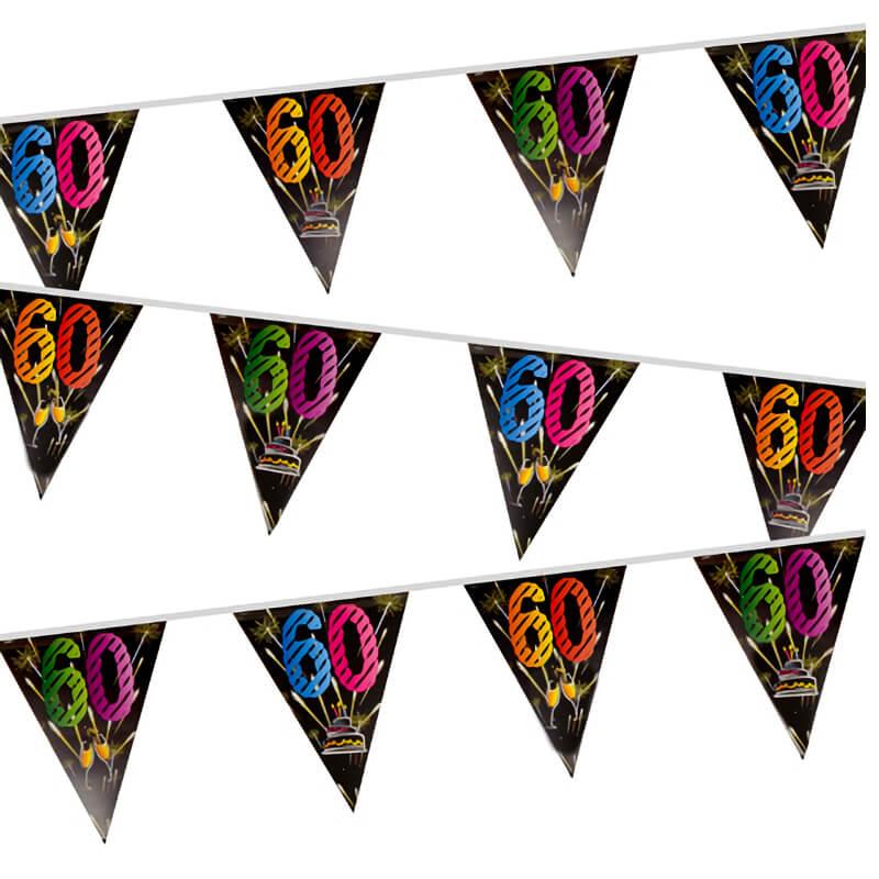 Guirlande fanion anniversaire 60 ans noir