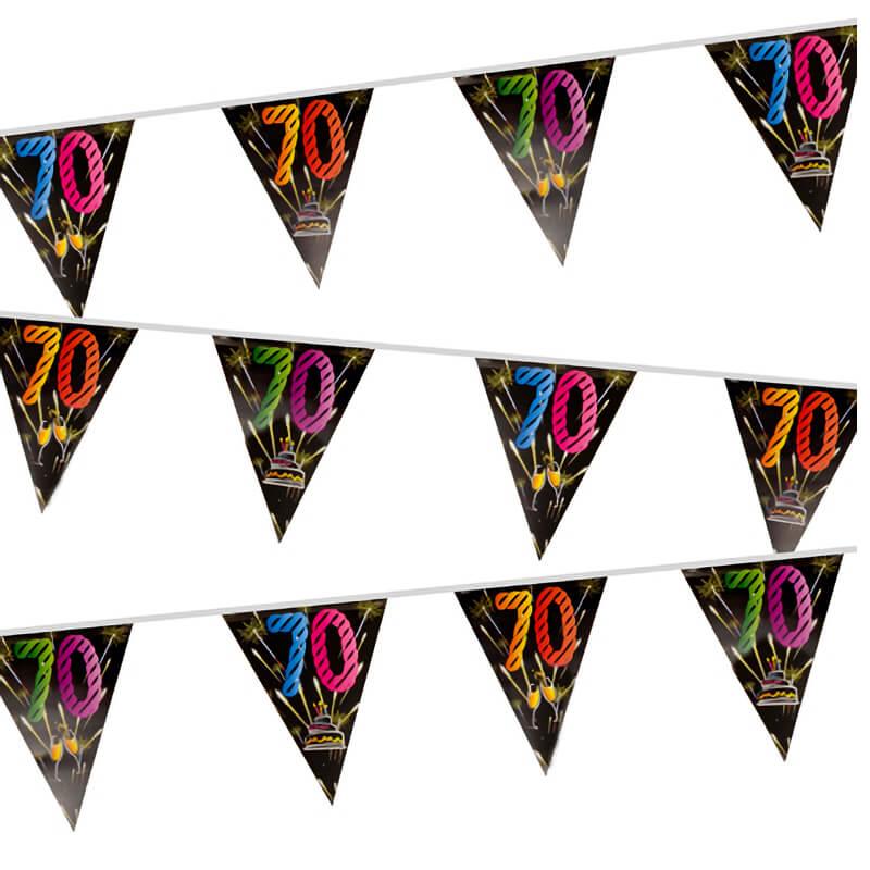 Guirlande fanion anniversaire 70 ans noir