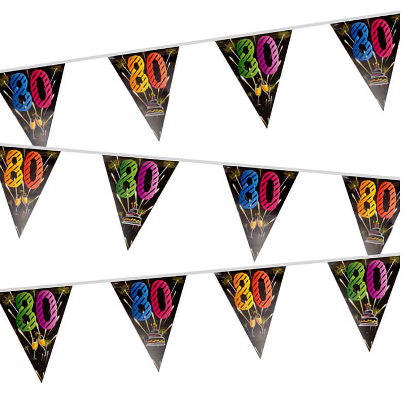 Guirlande fanion anniversaire 80 ans noir