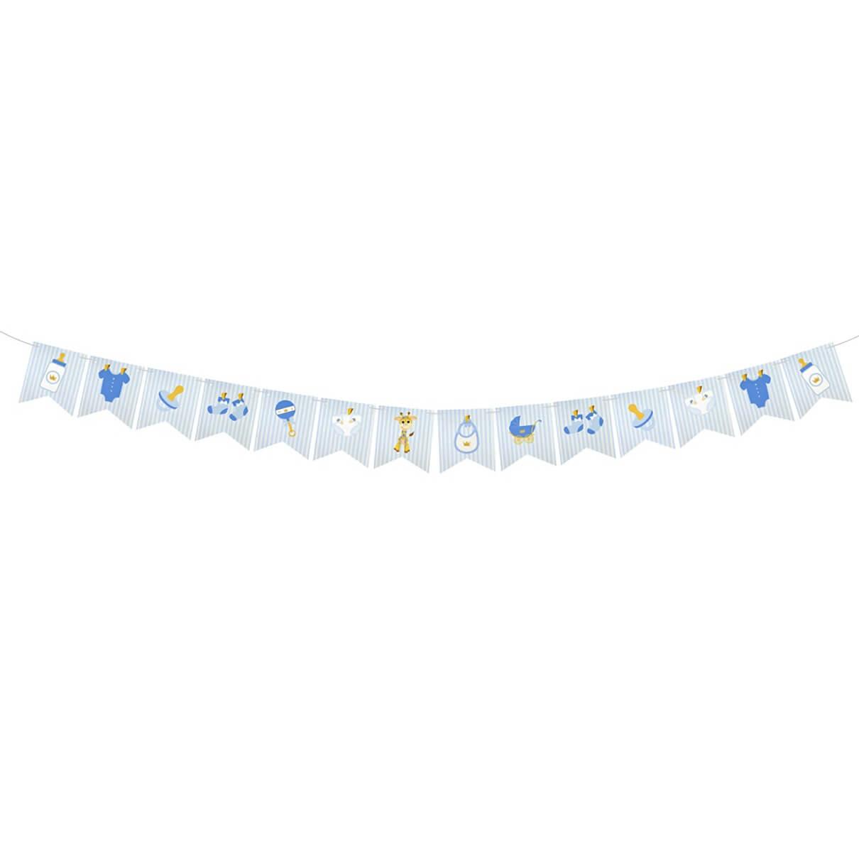Guirlande fanion baby shower bleu ciel