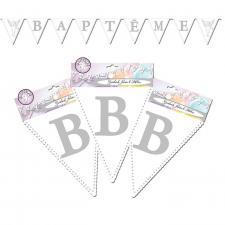 Guirlande fanion Baptême blanche et argentée (x1) REF/GFB00