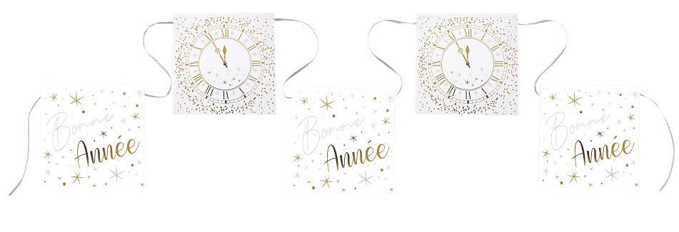 Guirlande fanion bonne annee horloge blanc argent et or