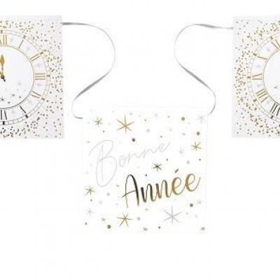Guirlande fanion Bonne Année horloge blanc, argent et or (x1) REF/6979