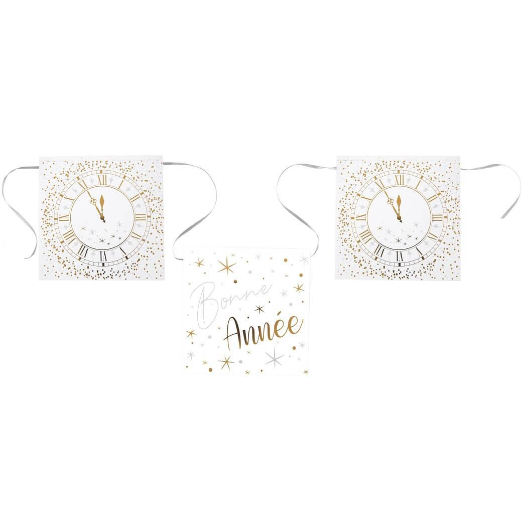 Guirlande fanion bonne annee horloge blanc et or