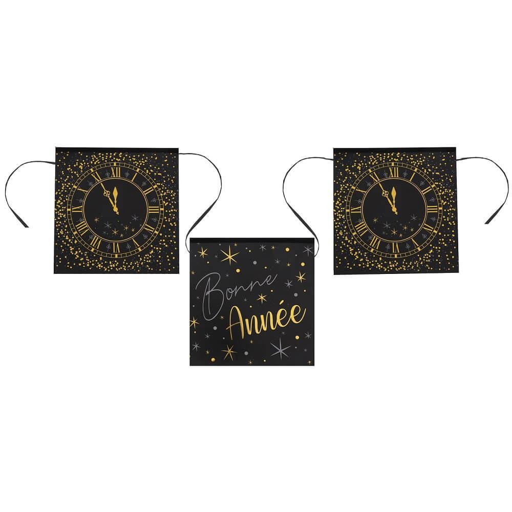 Guirlande fanion bonne annee horloge noir et or