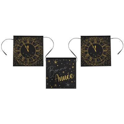 Guirlande fanion Bonne Année horloge noir, argent et or (x1) REF/6979