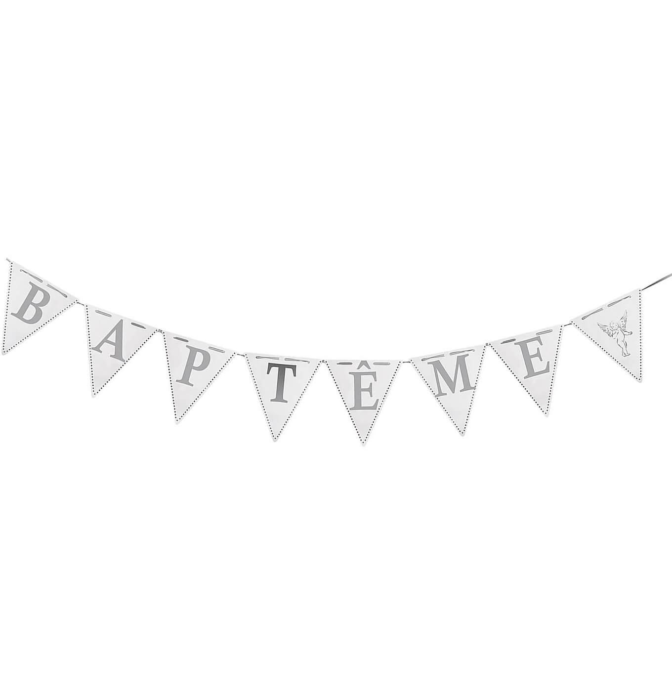 Guirlande fanion elegante bapteme blanche