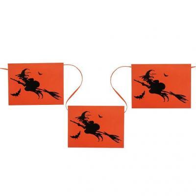 Banderole sorcière d'Halloween orange et noir (x1) REF/4234
