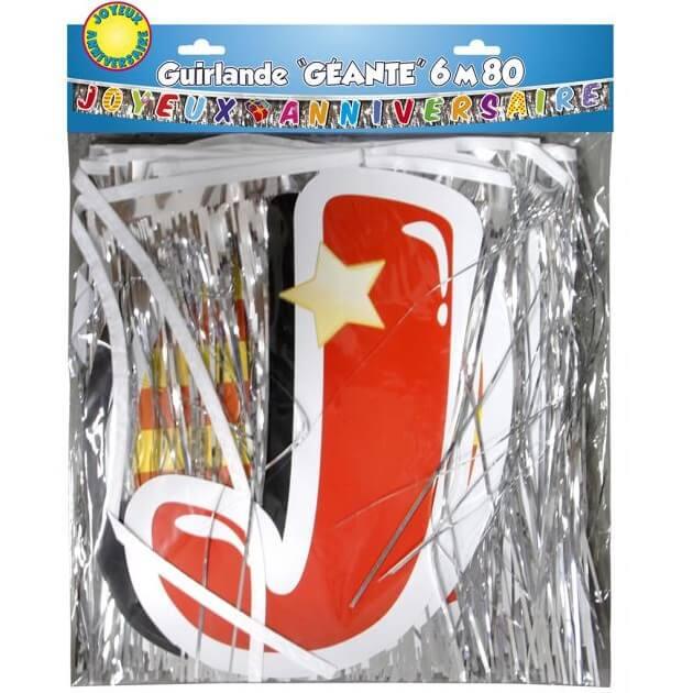 Guirlande joyeux anniversaire multicolore geante avec lettes