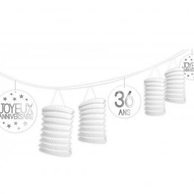 Guirlande blanche lampion anniversaire tous âges (x1) REF/GLTA00BA