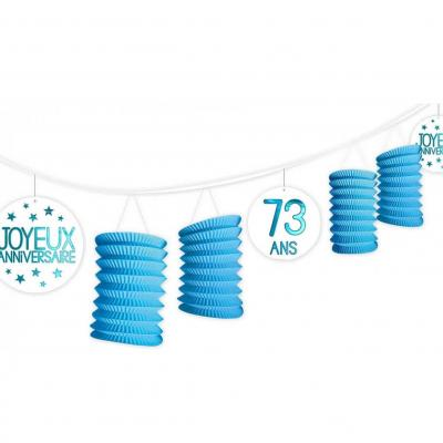 Guirlande bleue lampion anniversaire tous âges (x1) REF/GLTA00B