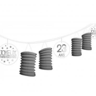 Guirlande grise lampion anniversaire tous âges (x1) REF/GLTA00G