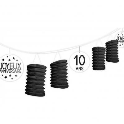 Guirlande noire lampion anniversaire tous âges (x1) REF/GLTA00N