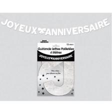 Guirlande pailletée anniversaire blanche (x4m) REF/GLP4M00BA